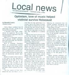 """""""Optimism, love of music helped violinist survive Holocaust"""" - article published in The American Israelite"""