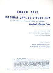"""Grand Prix International du Disque 1972"" - invitation and program"