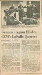 """""""Grammy Again Eludes CCM's LaSalle Quartet"""" - newspaper clipping"""
