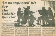 """An unexpected hit for the LaSalle Quartet"" - newspaper article from The Post"